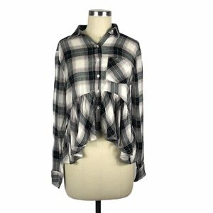 BP Plaid Peplum Button Up Shirt XXS NWT Girly Fall